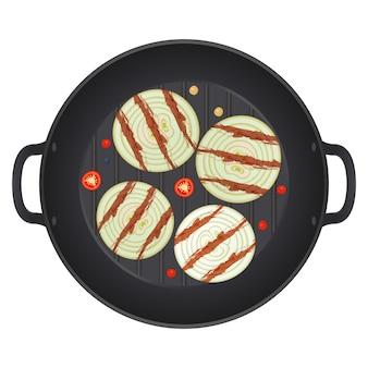Жареный нарезанный лук на сковороде с перцем чили, изолированные на белом фоне. кольца лука. иллюстрация.