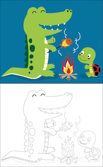 Grilling fish with crocodile and turtle