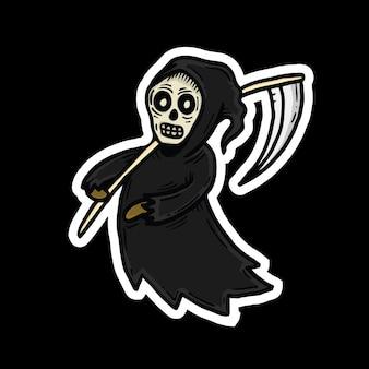 Grim reaper character halloween sticker