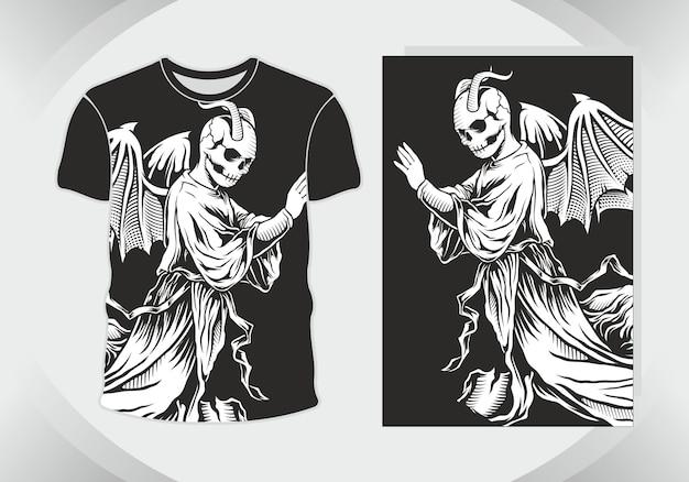 Grim reaper или demon иллюстрация для дизайна футболки