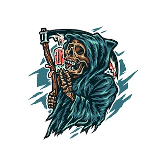 Grim reaper eating ice cream, hand drawn line style with digital color, illustration