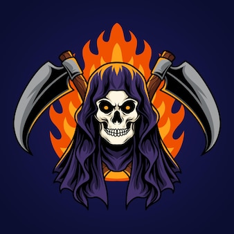 Grim reaper and fire