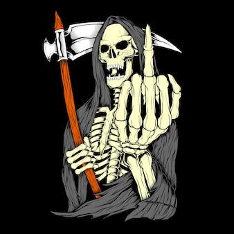 Grim reaper fuck hand,hand drawing