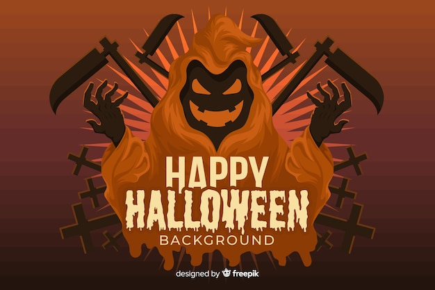 Grim reaper halloween background in flat design