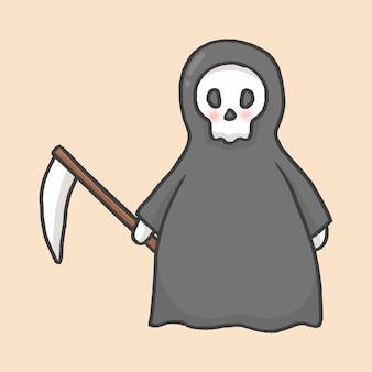 Grim reaper halloween hand drawn cartoon style vector
