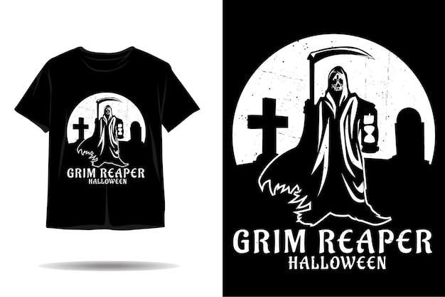 Дизайн футболки с силуэтом мрачного жнеца на хэллоуин