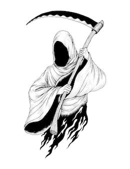 The grim reaper, hand drawn pointillism illustration