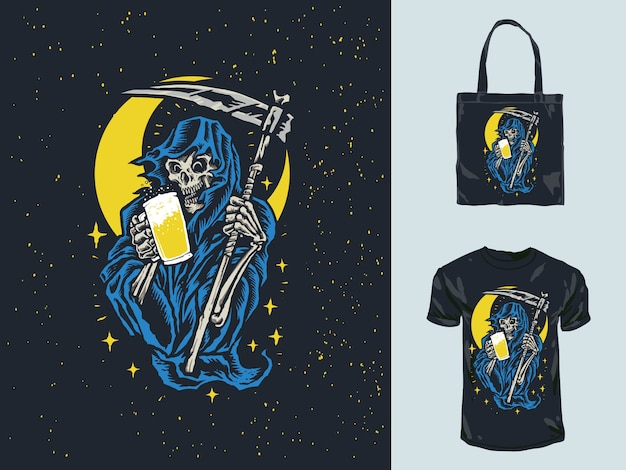Grim reaper hold beer hand drawn illustration