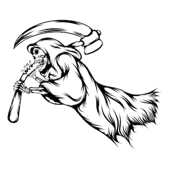 The grim reaper holding the big scythe