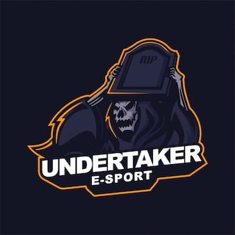 Grim reaper holding gravestone e-sport gaming mascot logo template