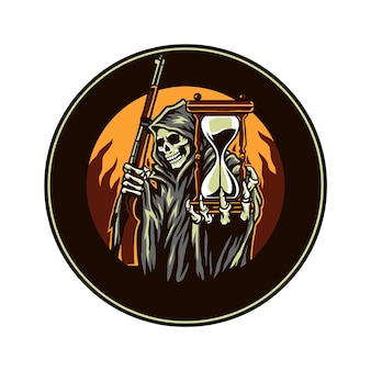 Grim reaper holding gunfire and hourglasses, hand drawn line with digital color, vector illustration