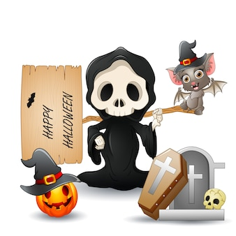 A grim reaper holding happy halloween sign letter