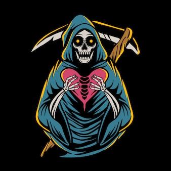Grim reaper holding heart
