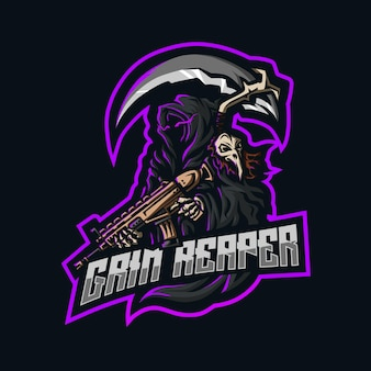 Grim reaper holding scar gun and a scythe in his back