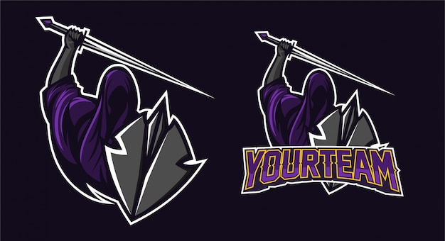 Grim reaper holding sword and shield mascot logo design