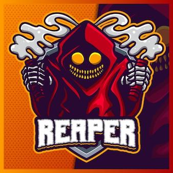 Grim reaper hood талисман киберспорт дизайн логотипа иллюстрации вектор шаблон, дьявол с логотипом вспышки для командной игры стример youtuber banner twitch discord