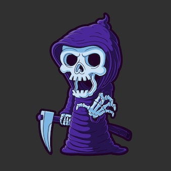 Grim reaper illustration. hand drawn.