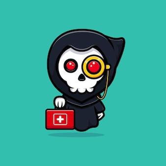 Grim reaper is a doctor. cute mascot illustration