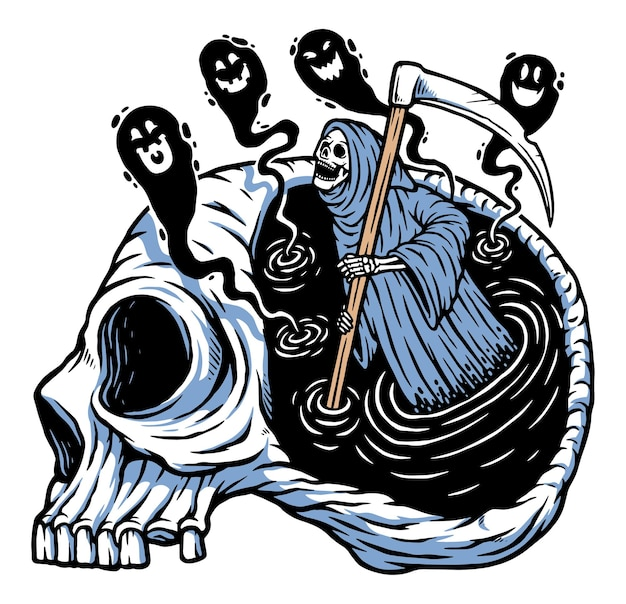 The grim reaper is on the mind illustration