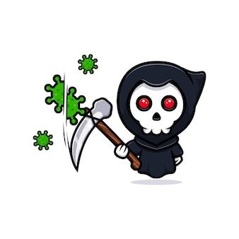 Grim reaper kill the virus. cute