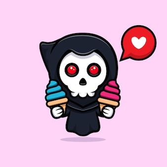 Grim reaper love icecream. cute mascot illustration