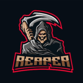 Grim reaper mascot with scythe in the behind.