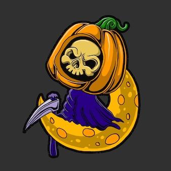 Grim reaper on the moon illustration. hand drawn.
