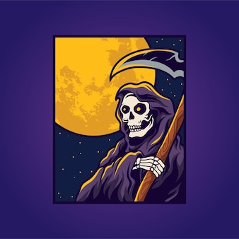 Grim reaper and moon