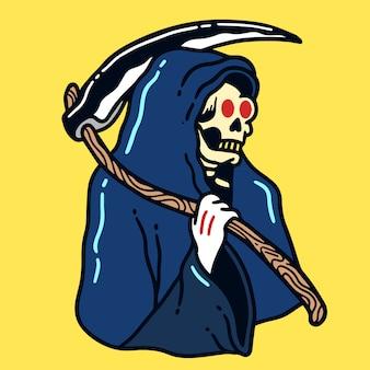 Grim reaper old school tattoo illustration