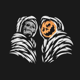 Grim reaper and pumpkin halloween character vector illustration