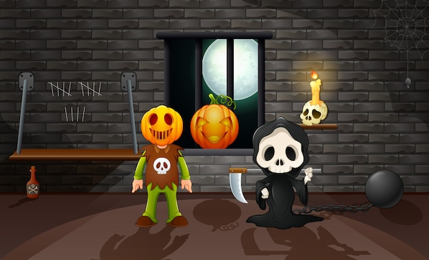 Grim reaper and pumpkin mask in the house