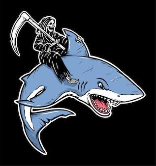 Grim reaper rides a shark illustration
