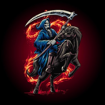 Grim reaper riding a horse illustration