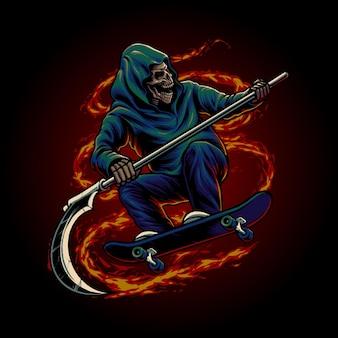 Grim reaper riding skateboard illustration