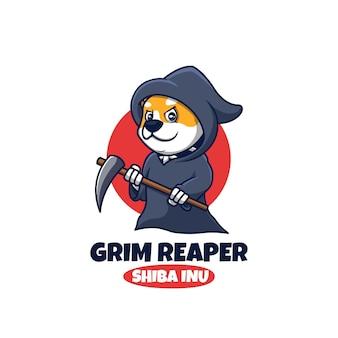 Мрачный жнец шиба ину мультипликационный персонаж талисман дизайн логотипа