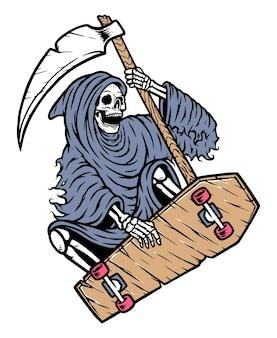 Grim reaper skateboarding illustration