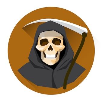 Grim reaper skeleton hold scythe halloween holiday icon