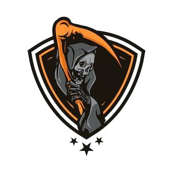 Grim reaper skull badge design