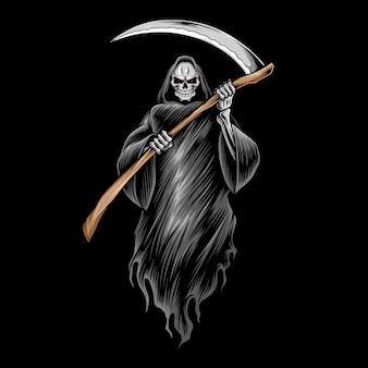 Grim reaper skull  illustration