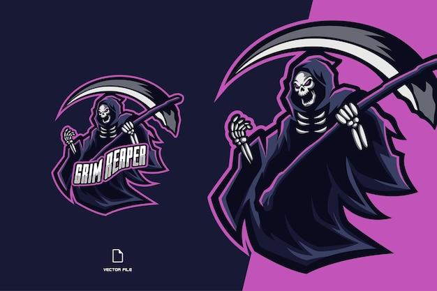 Eスポーツチームイラストの鎌のマスコットのロゴと死神の頭蓋骨