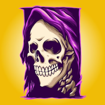 Grim reaper smile illustrations