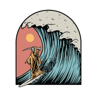 Grim reaper surfing summer graphic illustration