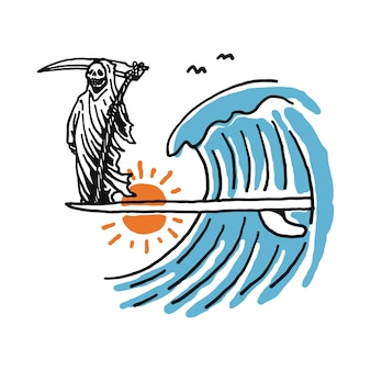 Grim reaper surfing иллюстрация