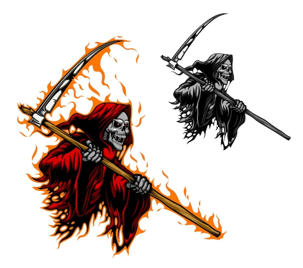 Grim reaper tattoo, scary death with scythe blade
