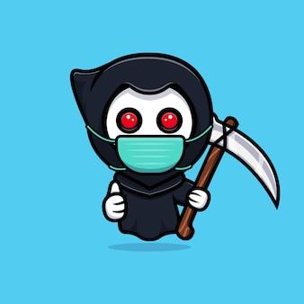 Grim reaper wearing mask to prevention virus. cute mascot illustration