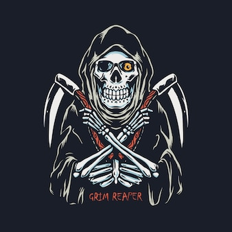 Grim reaper with double sickle hand drawn illustration