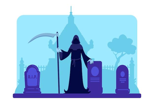 묘지 평면 색상에 낫을 가진 죽음의 신. 묘비와 오래된 지하실 건물. 내세 개념. 배경에 묘비와 나무와 짜증 묘지 2d 만화 풍경