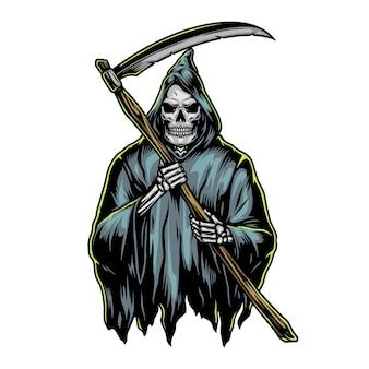 ヴィンテージスタイルの鎌のカラフルなイラストと死神