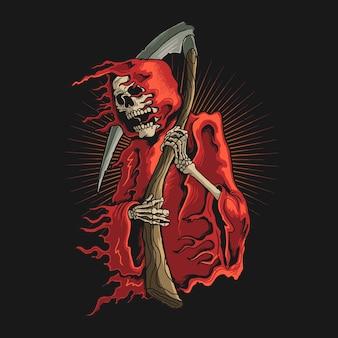 Grim reaper with scythe illustration