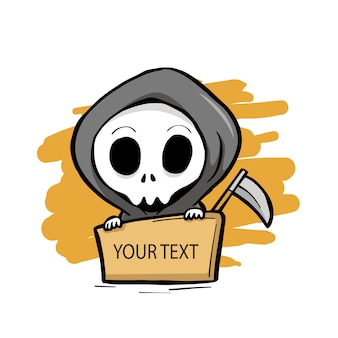 Grim reaper with a text board